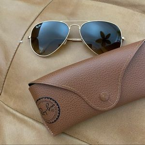 100% Authentic Ray-Ban Gold Aviator Sunglasses